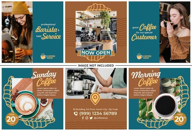 Coffee shop promotie instagram post set
