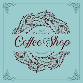 Coffee shop vintage plant illustraties