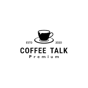 Coffee talk logo ontwerp vintage retro vector sjabloon