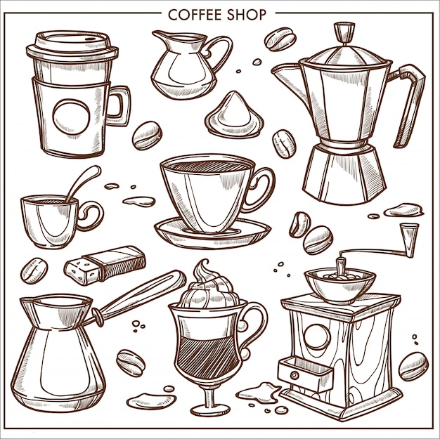 Coffeeshop apparatuur hulpmiddelen schets