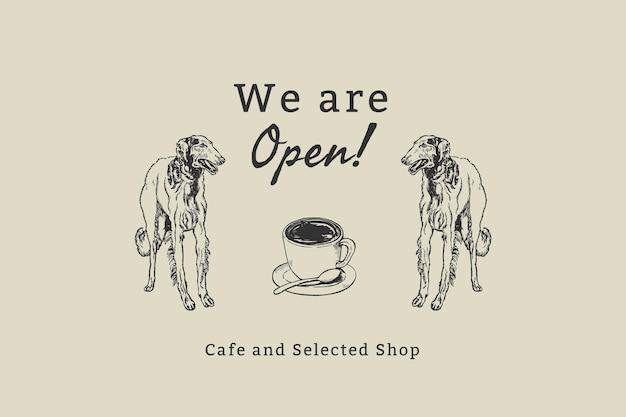 Coffeeshop banner sjabloon vector, geremixt van kunstwerken van moriz jung