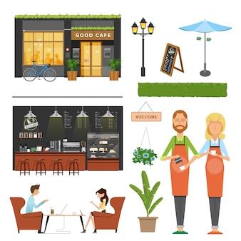 Coffeeshop, café-elementen, barista, koffieautomaat, bar, klantenbijeenkomst, decoratie