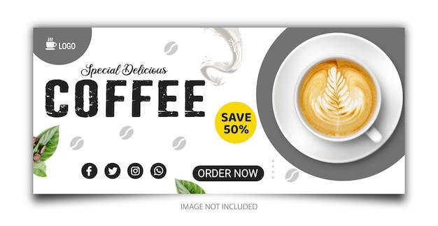 Coffeeshop drankje menu promotie facebook cover of social media banner template
