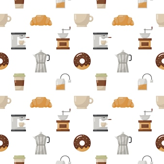 Coffeeshop en dessert naadloze patroon isoleren op wit