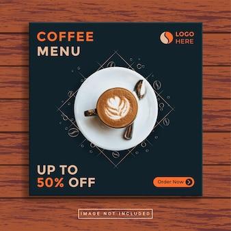 Coffeeshop en restaurant culinaire sociale media postsjabloon Premium Vector