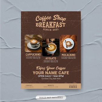 Coffeeshop flyer sjabloonontwerp premium, koffie menusjabloon, koffie poster, koffie flyer