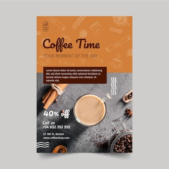 Coffeeshop flyer verticaal Gratis Vector