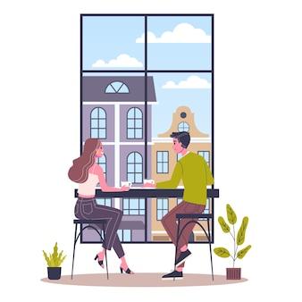 Coffeeshop gebouw interieur. mensen drinken koffie in het café. cafe binnen. illustratie