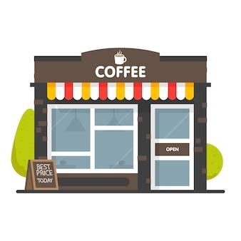 Coffeeshop gevel van het gebouw. bord met grote warme kop koffie. stijl illustratie. op witte achtergrond.