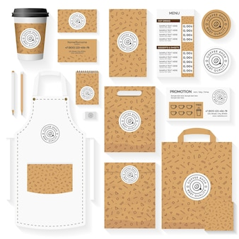 Coffeeshop huisstijl sjabloonontwerp ingesteld met geometrische patroon van memphis.