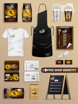 Coffeeshop identiteit met realistische merkset.