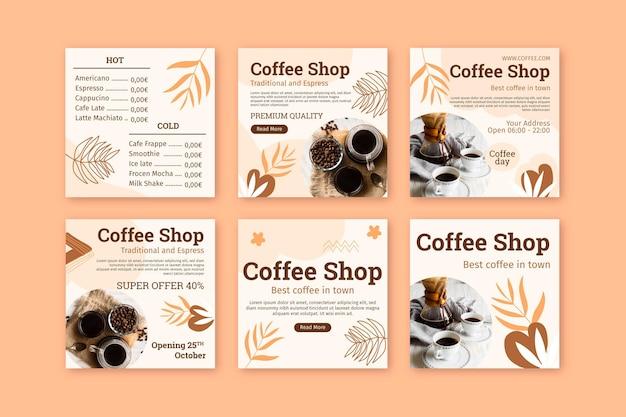 Coffeeshop instagram-berichten Gratis Vector