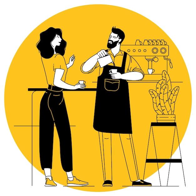 Coffeeshop jonge barista die opgeklopte melk in de koffiemok giet