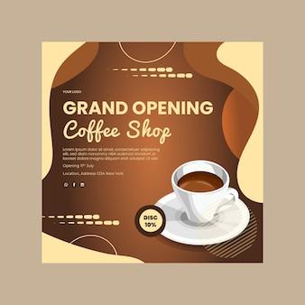 Coffeeshop kwadraat flyer-sjabloon