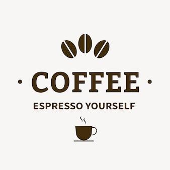 Coffeeshop logo, food business template voor branding design vector, espresso zelf tekst
