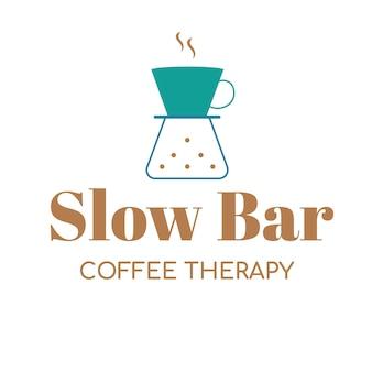 Coffeeshop logo, food business template voor branding ontwerp vector, slow bar koffie therapie tekst