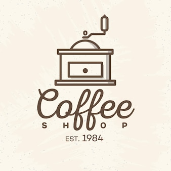Coffeeshop logo met koffie machine lijnstijl geïsoleerd op de achtergrond voor café