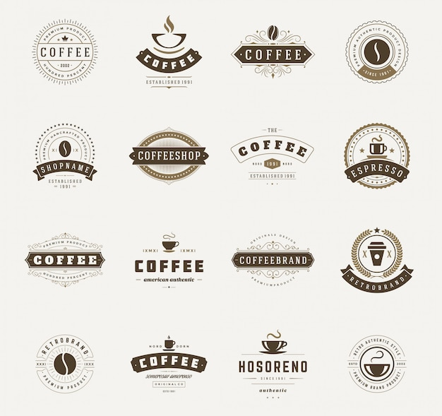 Coffeeshop logo sjablonen set