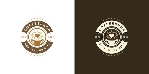 Coffeeshop logo sjabloon illustratie set