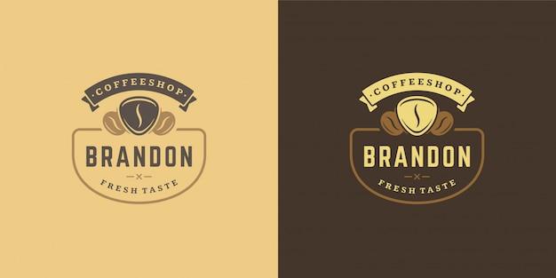 Coffeeshop logo sjabloon met boon silhouet goed voor café badge-ontwerp en menu-decoratie