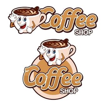 Coffeeshop logo sjabloon, met grappig karakter
