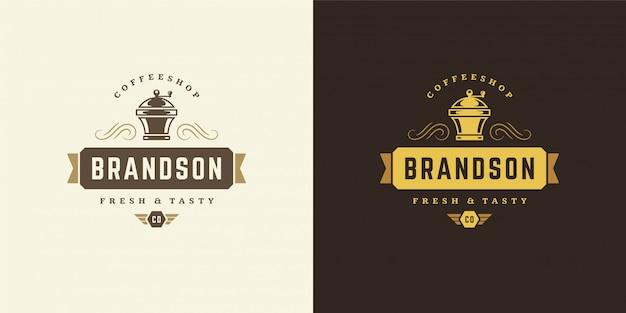 Coffeeshop logo sjabloon met grinder silhouet goed