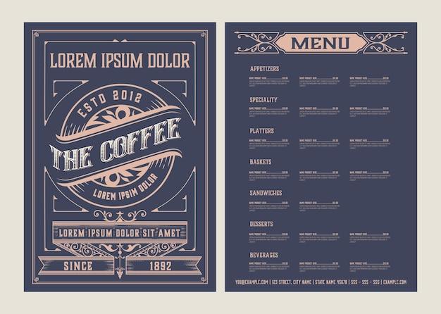 Coffeeshop menusjabloon. vintage-stijl