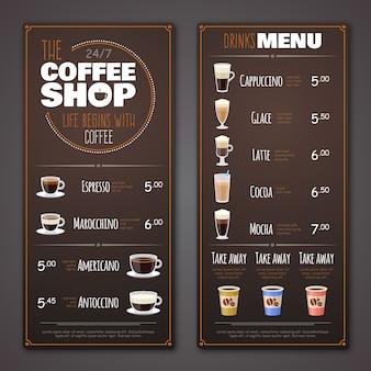 Coffeeshop menusjabloon