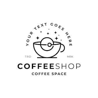 Coffeeshop met ruimte weergave logo sjabloon