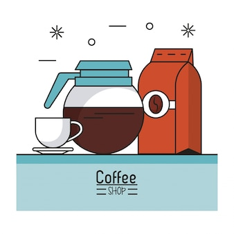 Coffeeshop met waterkoker en beker en zak gemalen koffie