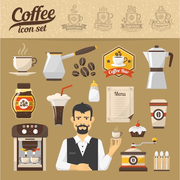 Coffeeshop pictogrammen instellen in vlakke stijl. soorten koffie.