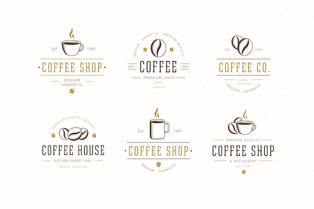 Coffeeshop retro logo collectie Premium Vector
