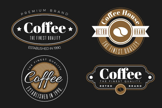 Coffeeshop retro logo collectie