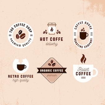 Coffeeshop retro logo collectieontwerp