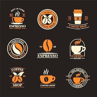Coffeeshop retro logo pack Premium Vector