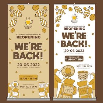 Coffeeshop roll-up banner afdruksjabloon met platte ontwerpstijl