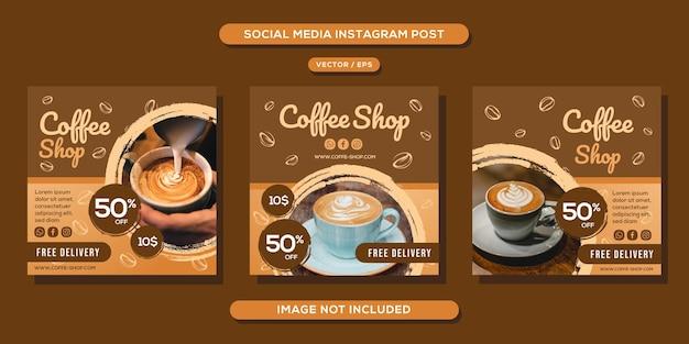 Coffeeshop social media bericht Premium Vector