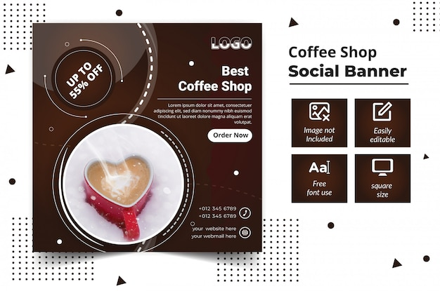 Coffeeshop sociale media banner plaatsen Premium Vector