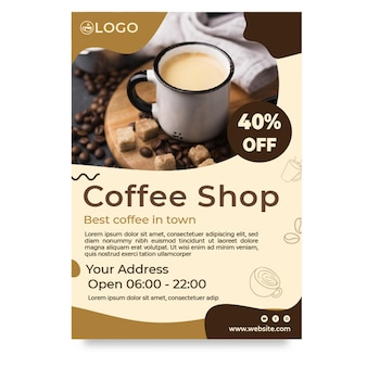 Coffeeshop verticale flyer met korting