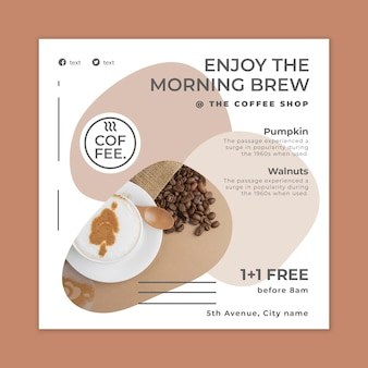 Coffeeshop vierkante flyer