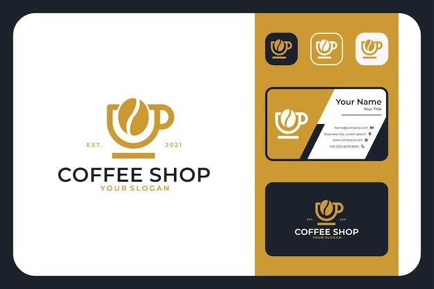 Coffeeshop vintage eenvoudig logo-ontwerp en visitekaartje