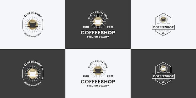 Coffeeshop vintage logo-ontwerpbundelcollectie