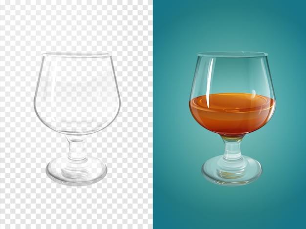Cognac 3d illustratie van realistisch servies voor cognac cognac.