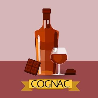 Cognac fles met chocoladealcohol drinken pictogram plat