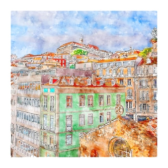 Coimbra portugal aquarel schets hand getrokken illustratie