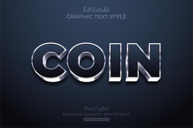 Coin silver glow bewerkbare teksteffect lettertypestijl
