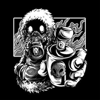 Cold wars black & white illustratie