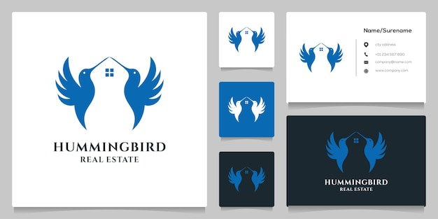 Colibri het dakvormige huis onroerend goed logo-ontwerp