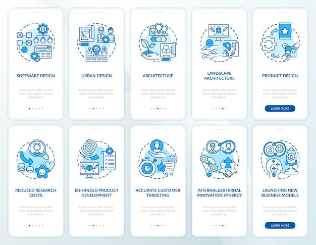 Collaboratieve ontwikkeling onboarding mobiele app-paginascherm met ingestelde concepten. architectuur, klantgerichtheid walkthrough 5 stappen grafische instructies. ui-sjabloon met rgb-kleurenillustraties