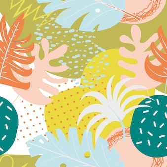 Collage eigentijds bloemen naadloos patroon. moderne exotische junglefruit en planten. creatief ontwerp laat patroon